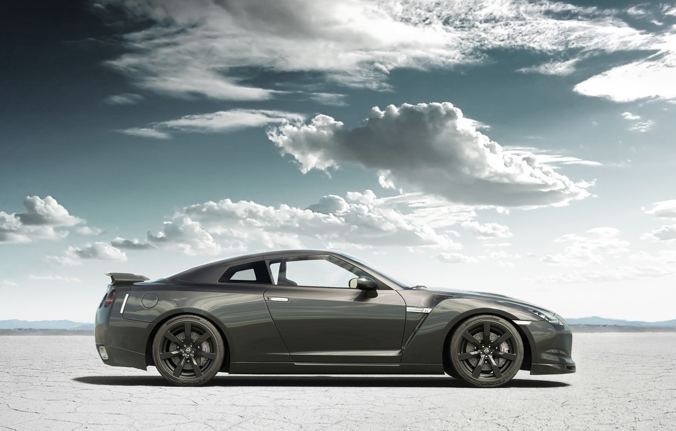 Photo wallpaper sand, clouds, tuning, Nissan, GT-R, Nissan