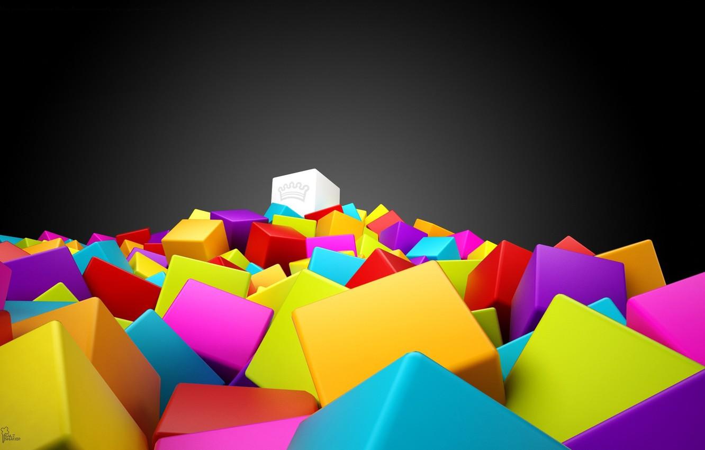 Photo wallpaper color, crown, Cubes