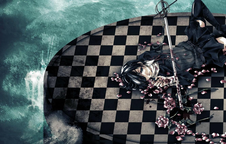Photo wallpaper wave, blood, roses, stockings, petals, eye patch, rapier, Kuroshitsuji, Ciel Phantomhive, Dark Butler, chess square, …