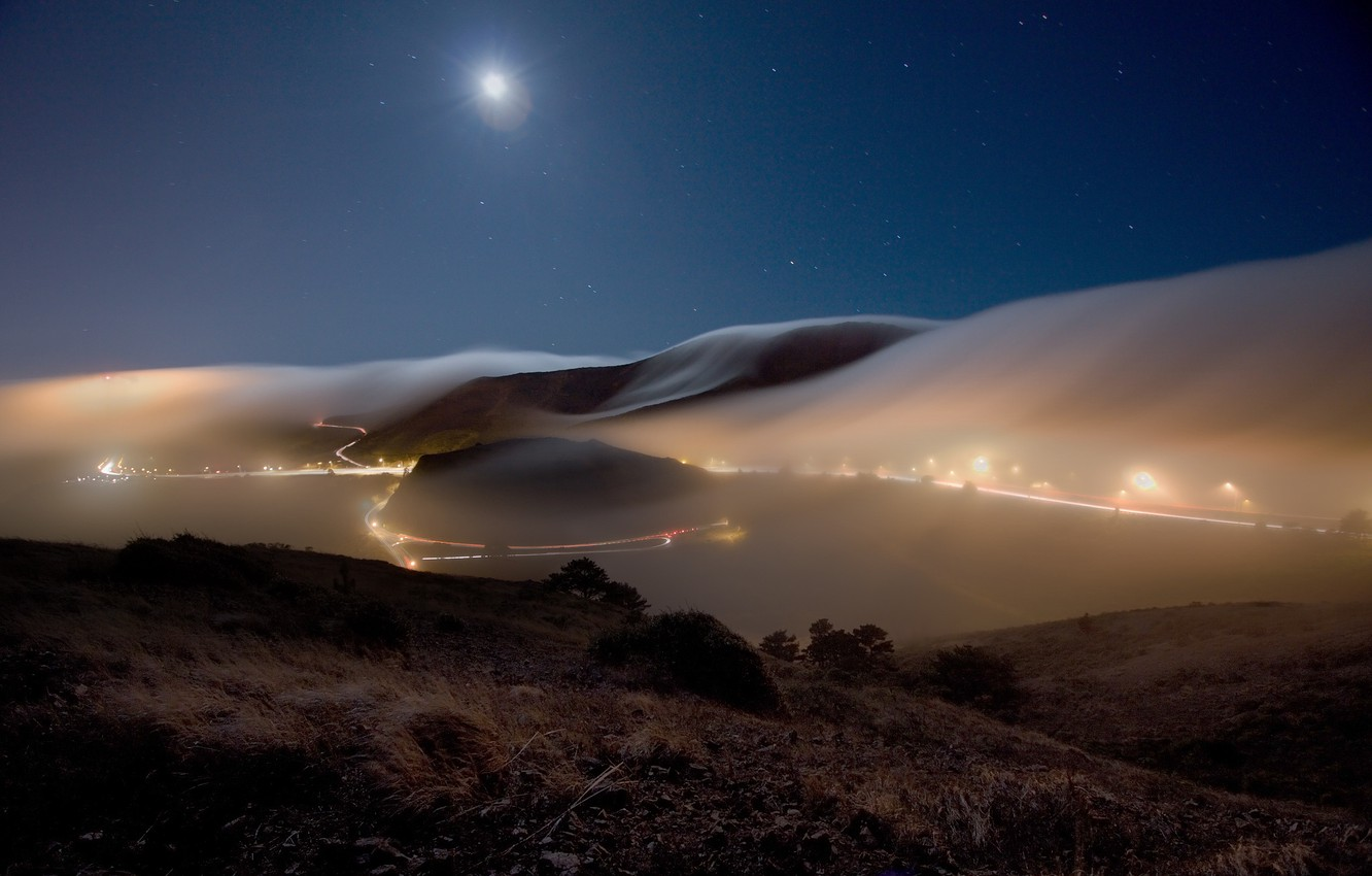 Photo wallpaper road, the sky, stars, landscape, night, nature, lights, fog, hills, the moon, track, the evening, …