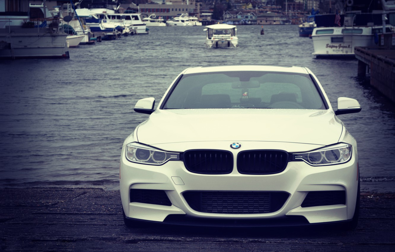 Photo wallpaper lights, BMW, white, front, stance, f30