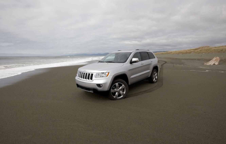 Photo wallpaper sand, coast, Jeep, Grand Cherokee