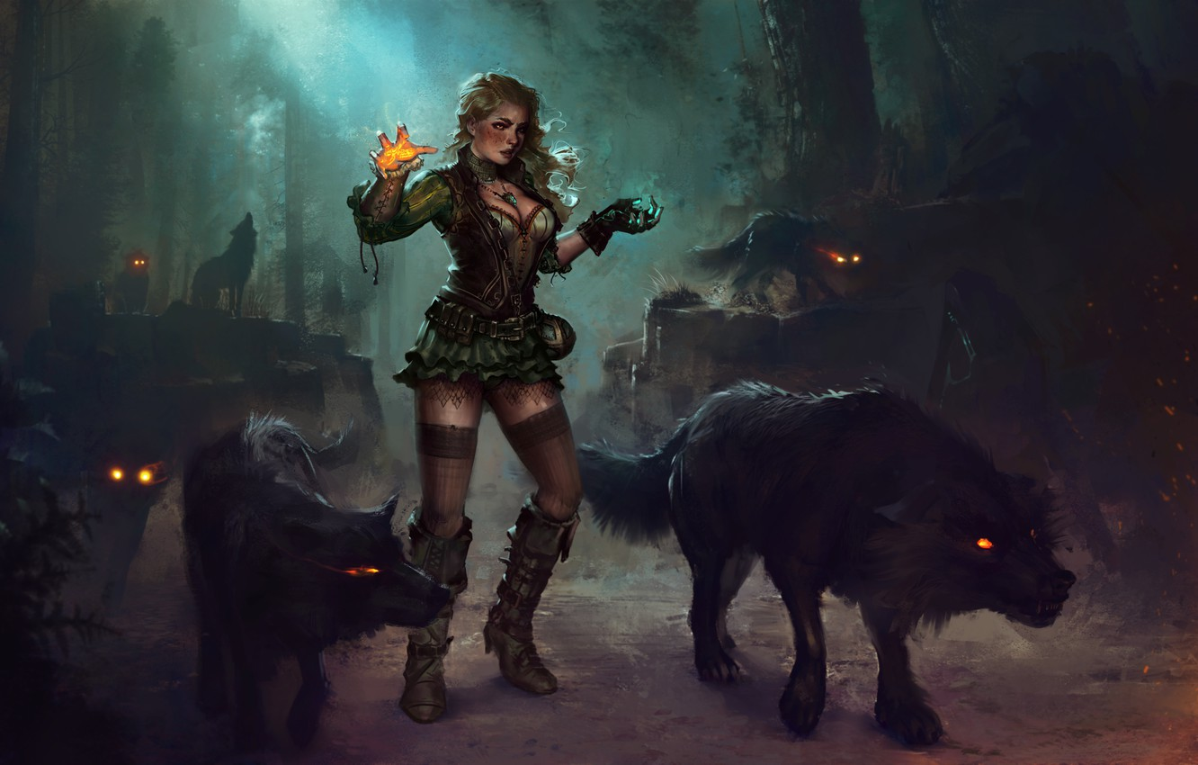 Photo wallpaper forest, girl, night, magic, dress, art, blonde, MAG, wolves, witch