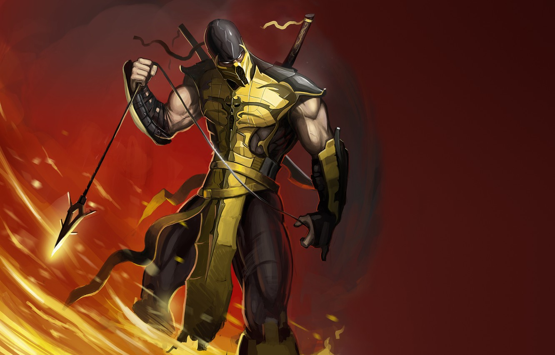Photo wallpaper fire, flame, Scorpio, ninja, scorpion, mortal kombat