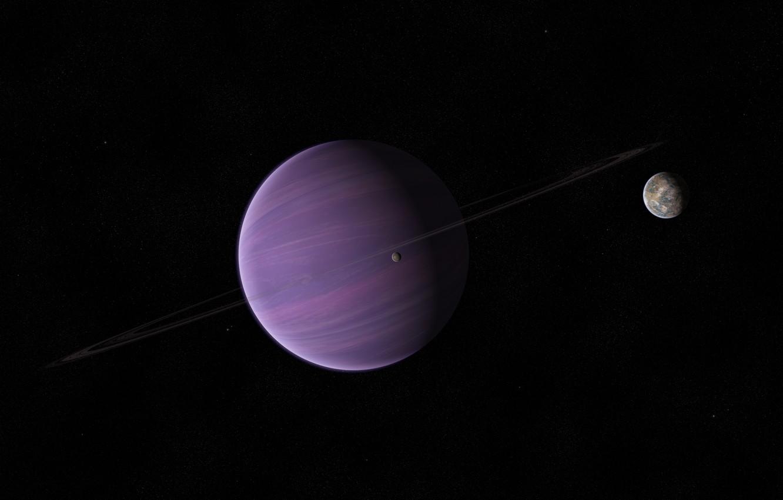 Photo wallpaper stars, planet, ring, satellites, gas giant
