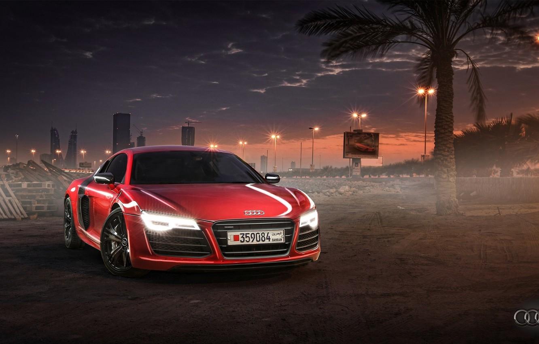 Photo wallpaper Audi, Red, Sunset, Wallpaper, Supercar, Bahrain