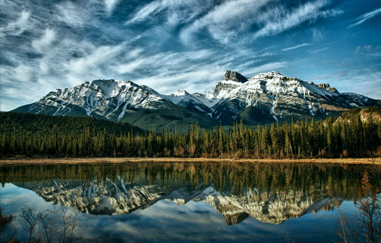Photo wallpaper forest, the sky, clouds, trees, mountains, nature, lake, reflection, blue, Canada, Albert, Alberta, forest, Canada, …