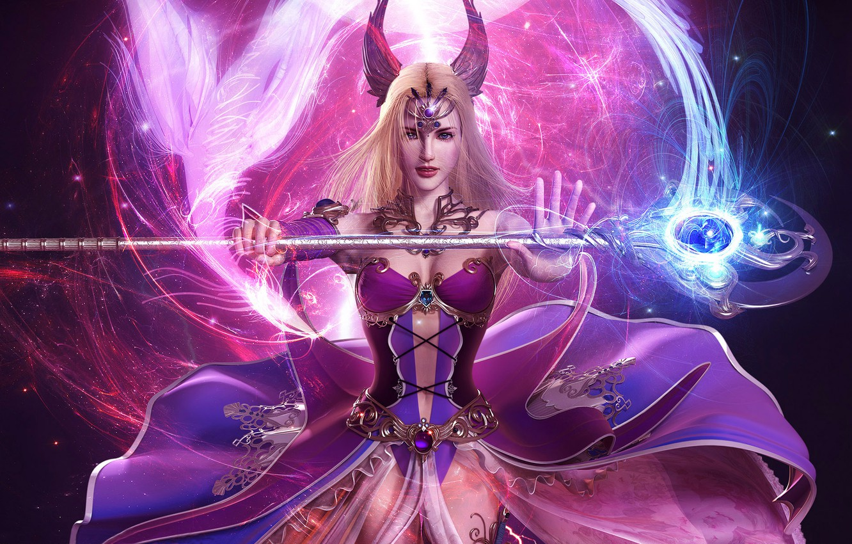 Photo wallpaper girl, magic, staff, fantasy