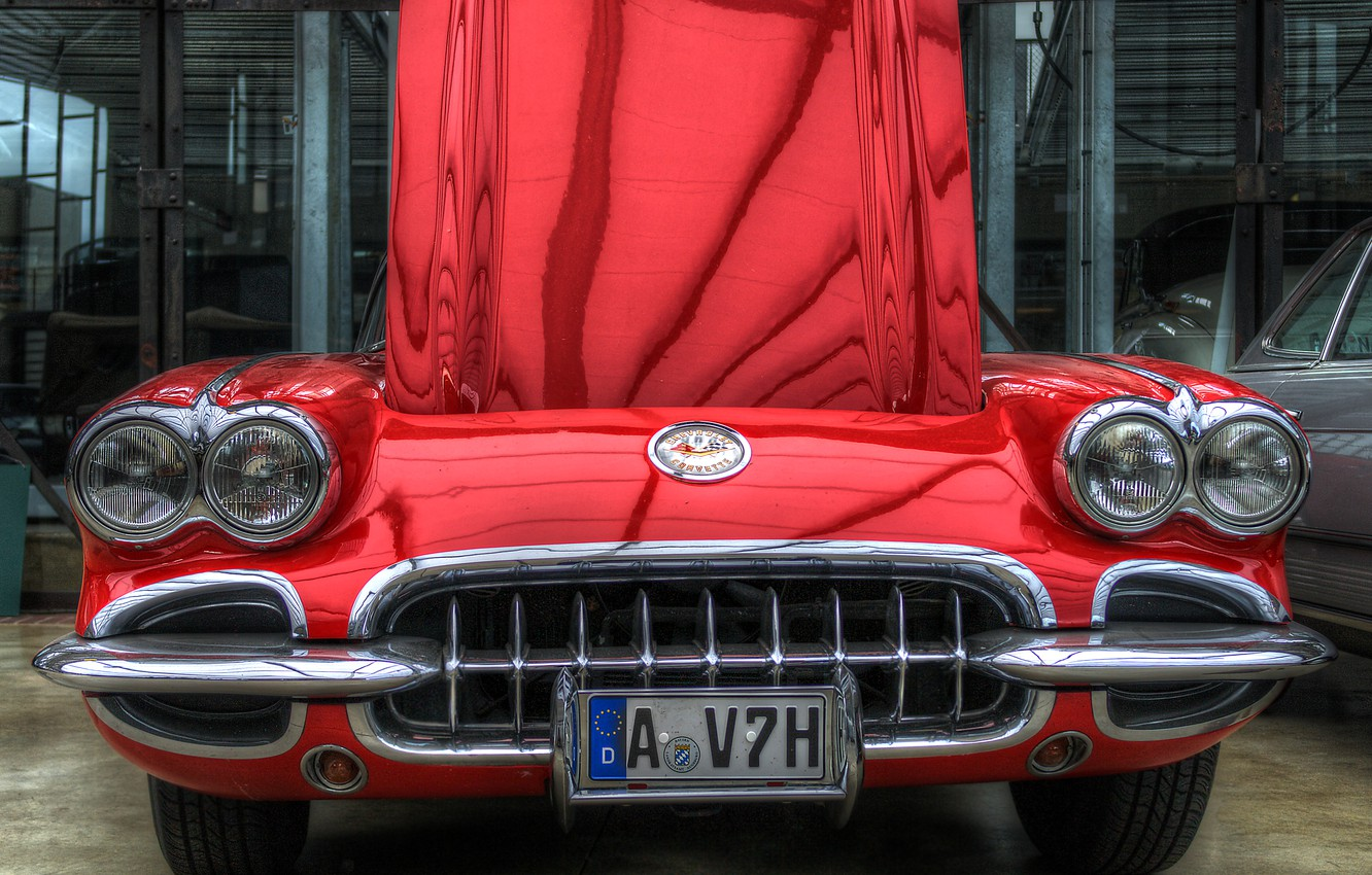 Photo wallpaper car, red, lights, the hood, grille, hdr, red, corvette, bumper