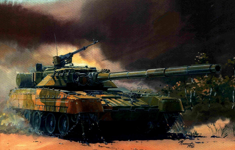 Photo wallpaper green, art, tank, machine gun, gun