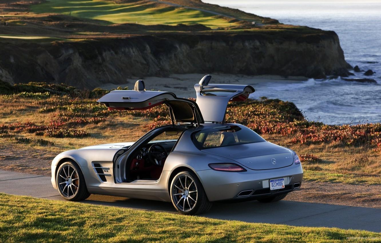 Photo wallpaper sea, the sun, Mercedes-Benz, door