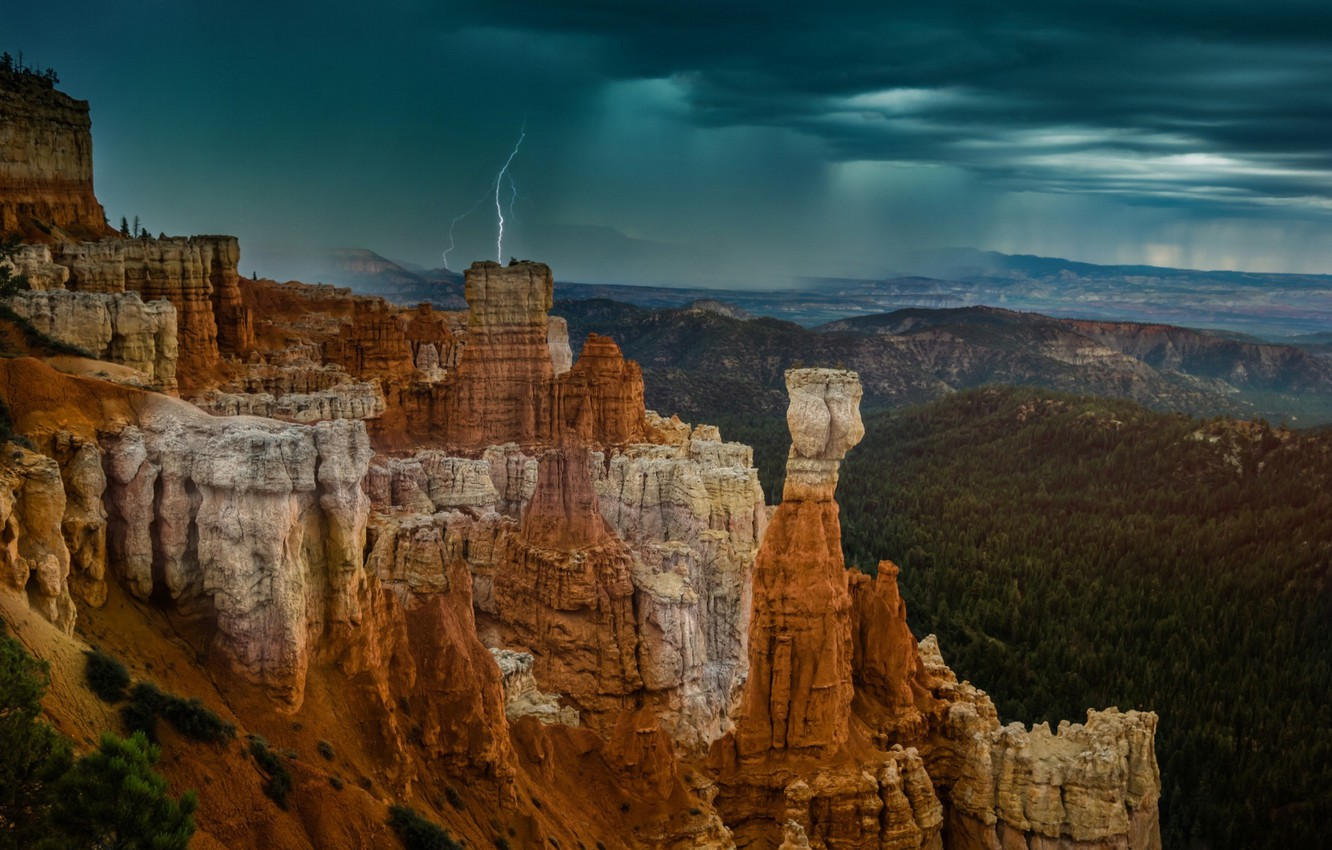 Photo wallpaper the sky, clouds, mountains, rocks, lightning