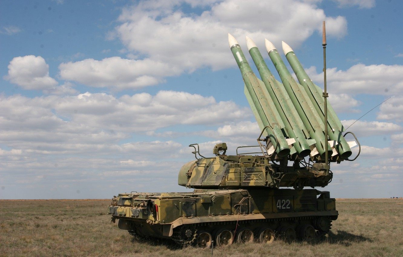 Photo wallpaper field, the sky, clouds, installation, self-propelled, complex, Buk-M2, anti-aircraft missile