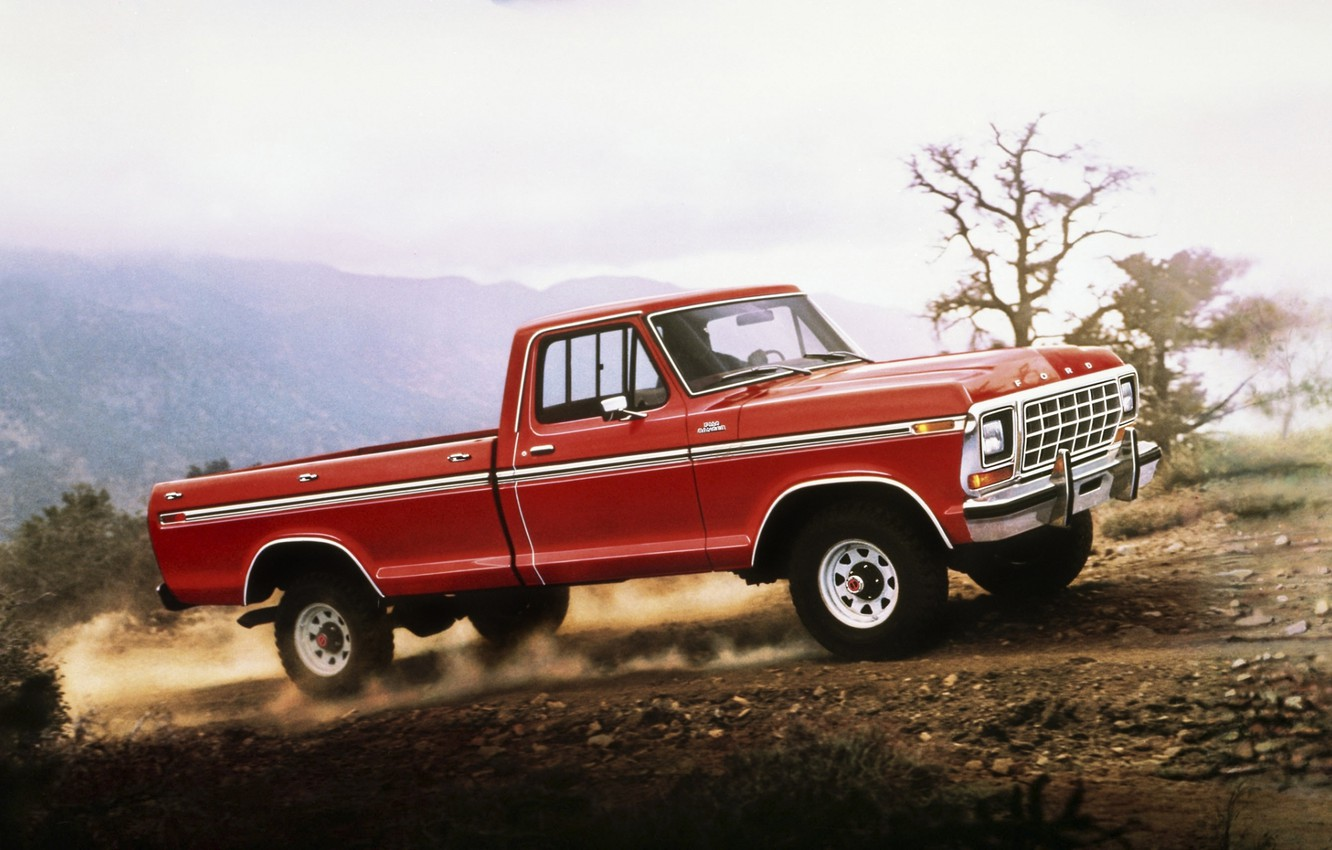 Photo wallpaper road, the sky, red, Ford, dust, Ford, classic, pickup, f-150, F-150, Ranger, 1978, Ranger