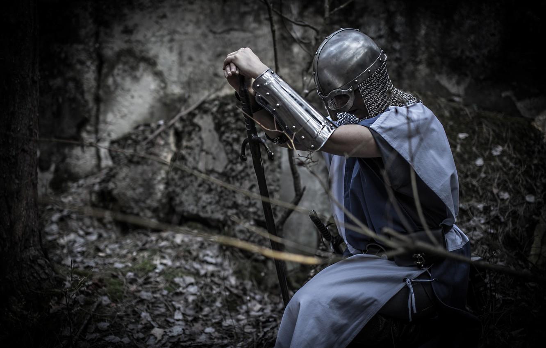 Photo wallpaper girl, background, sword, armor, warrior