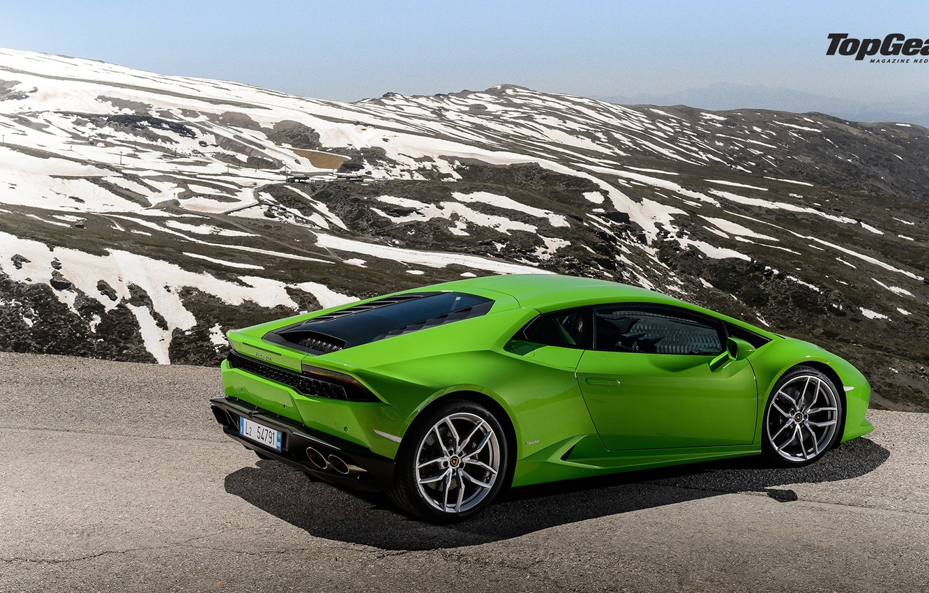 Photo wallpaper Lamborghini, Top Gear, Green, Road, Supercar, Rear, Huracan, LP610-4