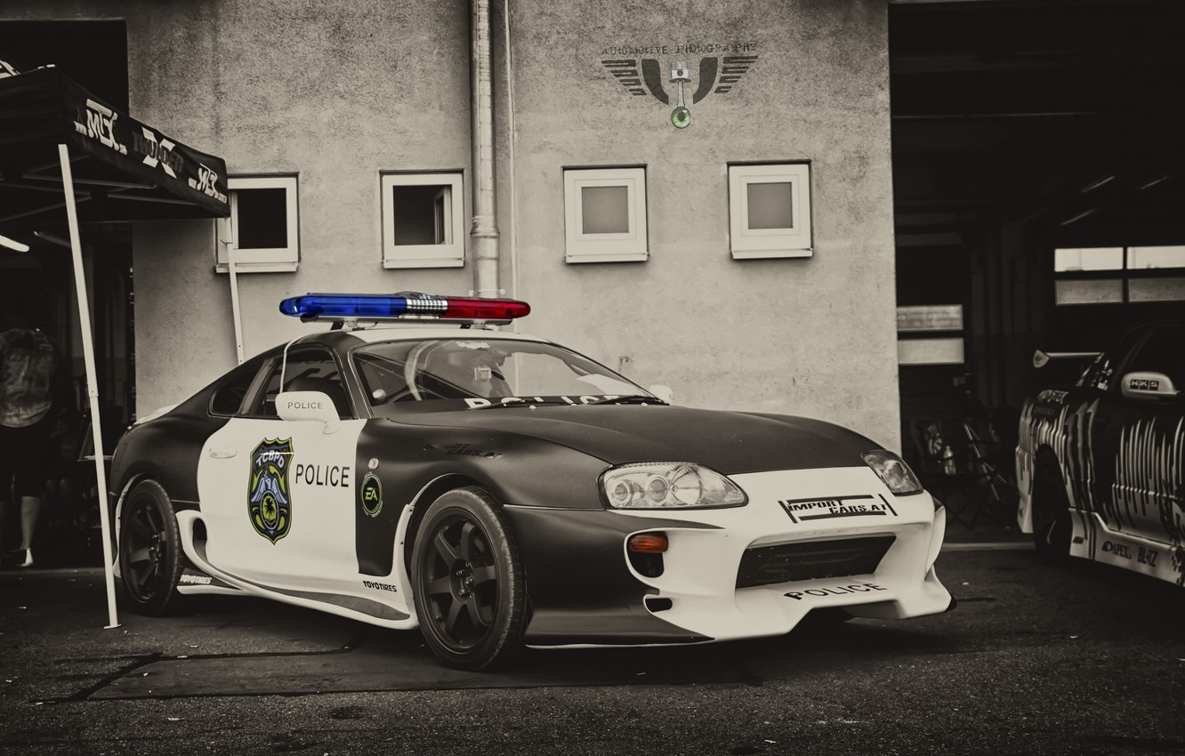 Photo wallpaper Toyota, Car, Police, Supra, JDM