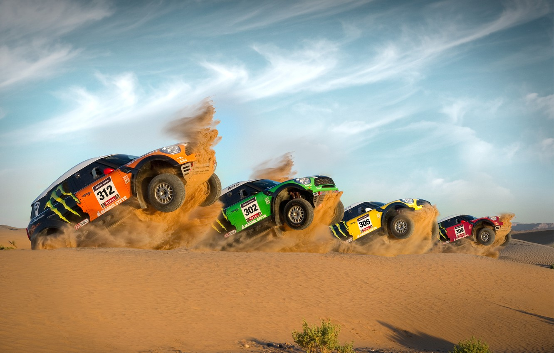 Photo wallpaper Red, Yellow, Green, Orange, Mini Cooper, Dakar, Start, Power, Four, MINI, Mini Cooper, For The …