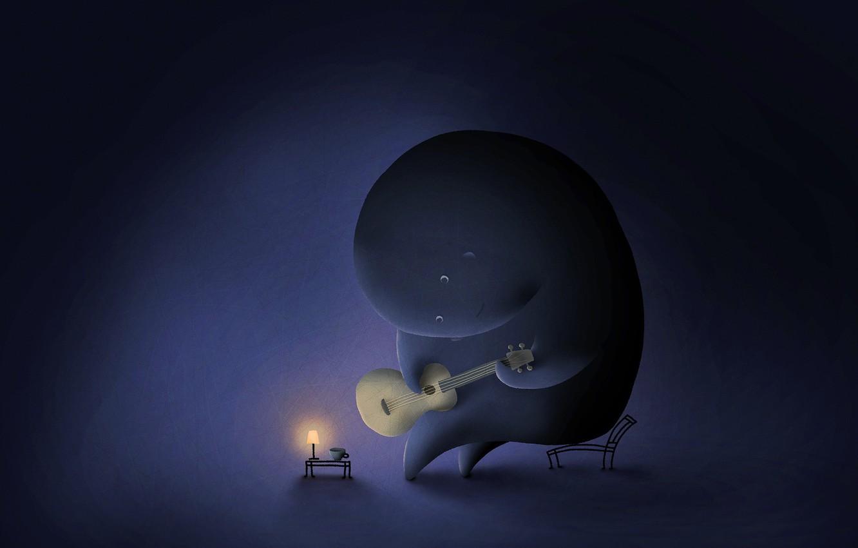 Photo wallpaper elephant, guitar, vladstudio
