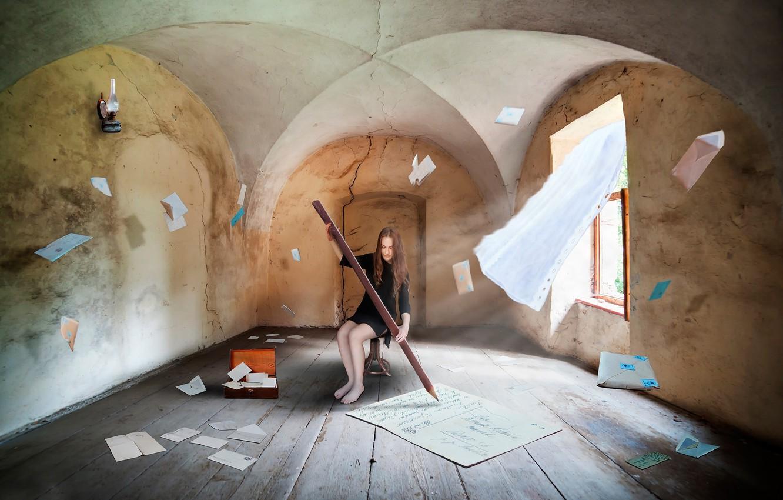 Photo wallpaper girl, fantasy, room, art, pencil, letters