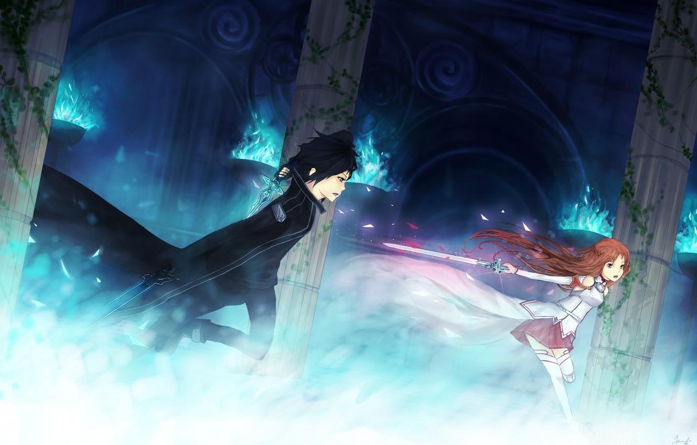 Photo wallpaper girl, weapons, fire, magic, sword, columns, guy, the battle, art, sword art online, yuuki asuna, …