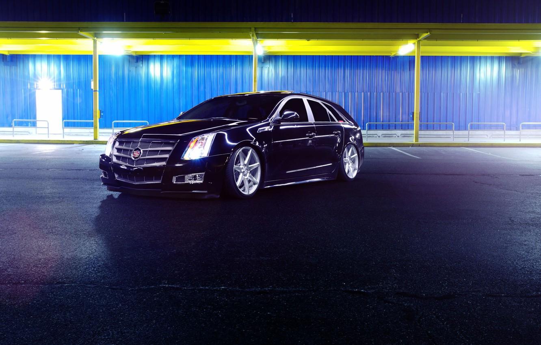 Photo wallpaper Cadillac, CTS, Car, Front, Black, Tuning, Vossen, Wheels, CV7