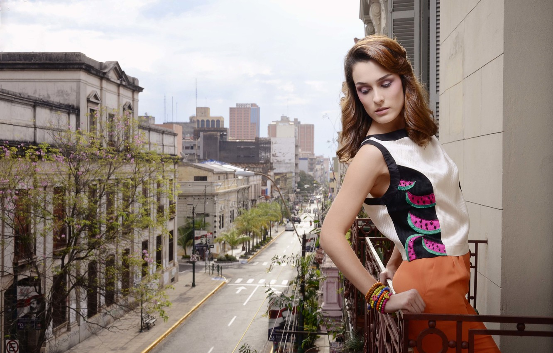 Photo wallpaper girl, the city, clothing, blouse, balcony
