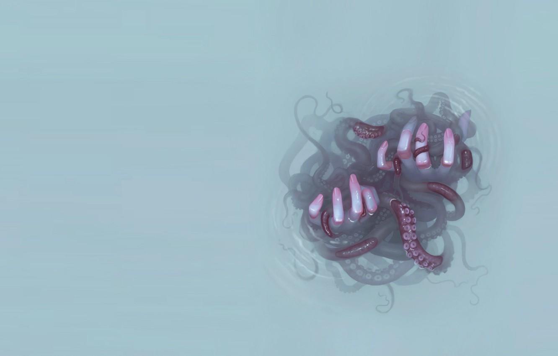 Photo wallpaper octopus, fingers, grey background, sucker, horror, the tentacles