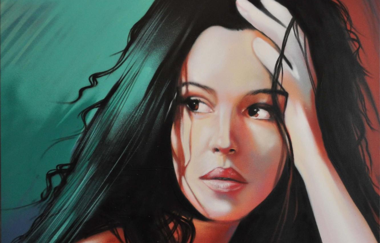 Photo wallpaper face, model, hair, portrait, actress, lips, Monica Bellucci, painting, PRT