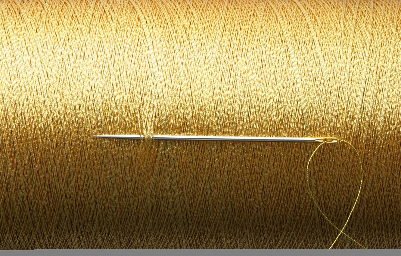 Photo wallpaper gold, thread, needle, reel
