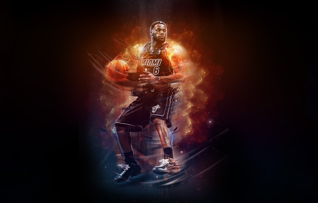 Photo wallpaper Fire, Basketball, Miami, NBA, LeBron James, Basketball, Heat