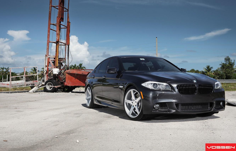 Photo wallpaper BMW, black, 5 series, f10, vossen