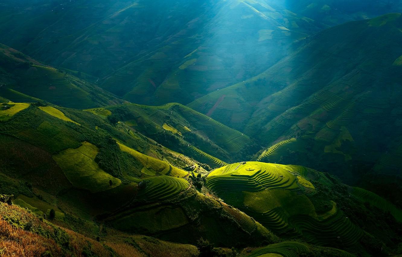 Photo wallpaper light, hills, shadows, slopes