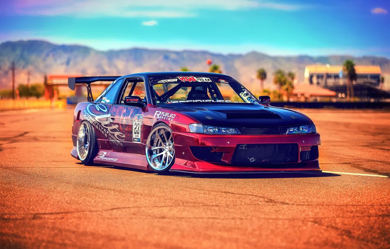 Photo wallpaper Silvia, Nissan, sun, S14, race car