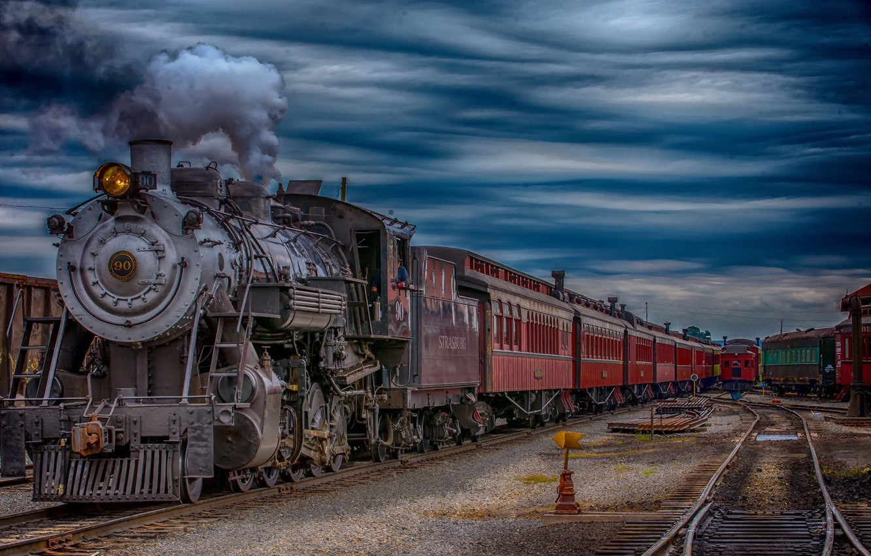 Photo wallpaper train, the engine, station
