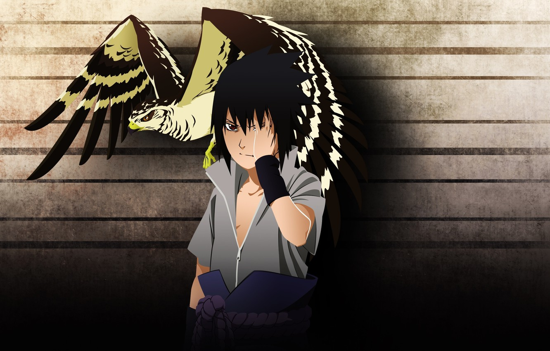 Photo wallpaper bird, naruto, art, hawk, Sasuke, мangekyou sharingan