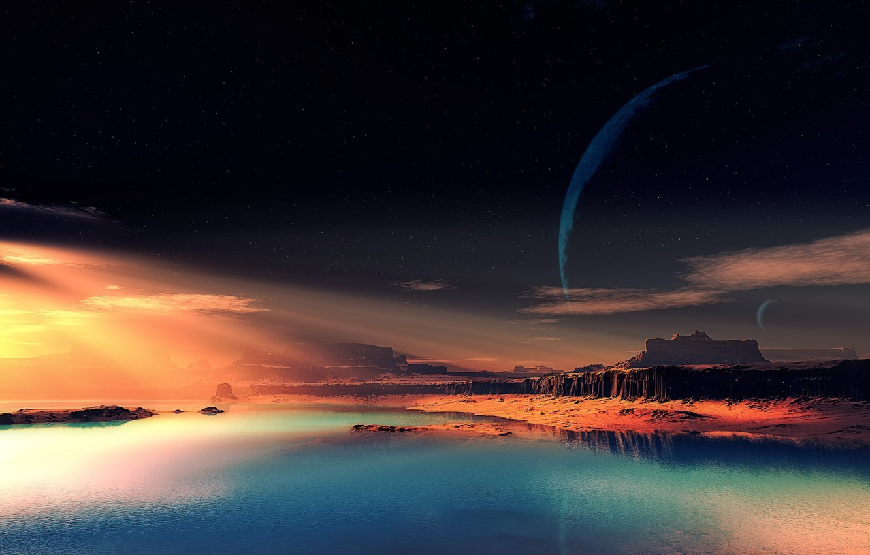 Wallpaper The Sky Rocks Alien Planet Fantastic Landscape