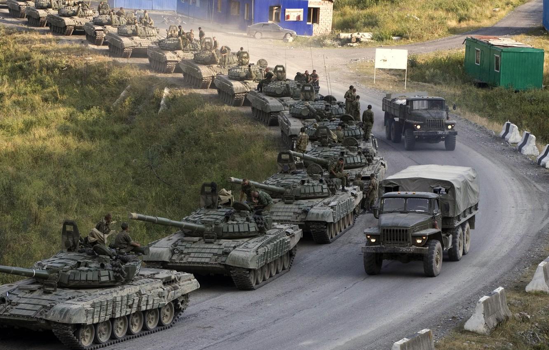 Photo wallpaper road, trucks, war, The Caucasus, Tanks, T-72, a column of tanks