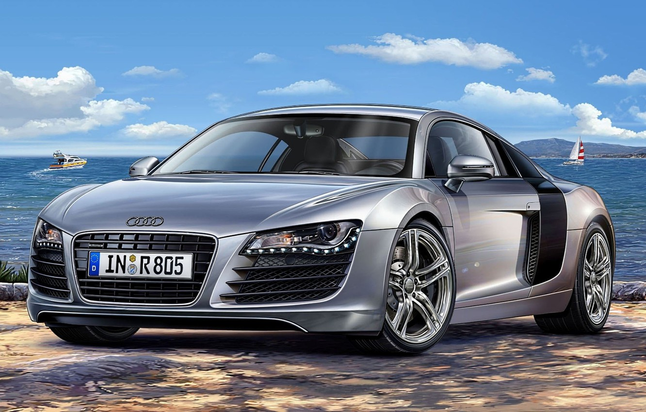 Photo wallpaper Audi, Audi, silver, art, supercar, sports, power, model., four-wheel drive, mid-engined, German, to accelerate, allows, …