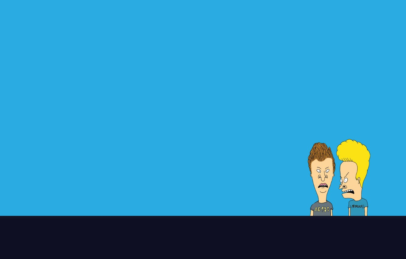 Wallpaper Look Strip Minimalism Blue Background Beavis And Butt Head Beavis And Butthead Images For Desktop Section Minimalizm Download