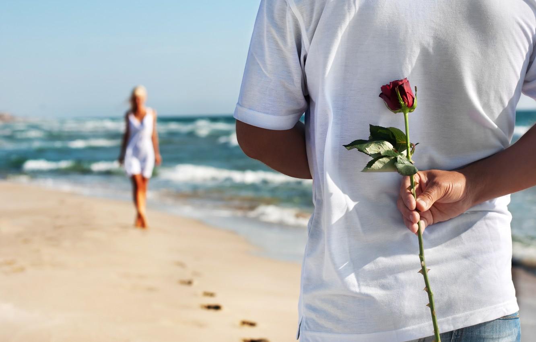 Wallpaper Sand Sea Beach Love Pair Love Rose Happy People