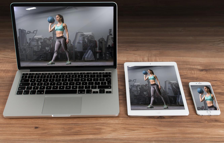 Photo wallpaper woman, notebook, tablet, cellular smartphone