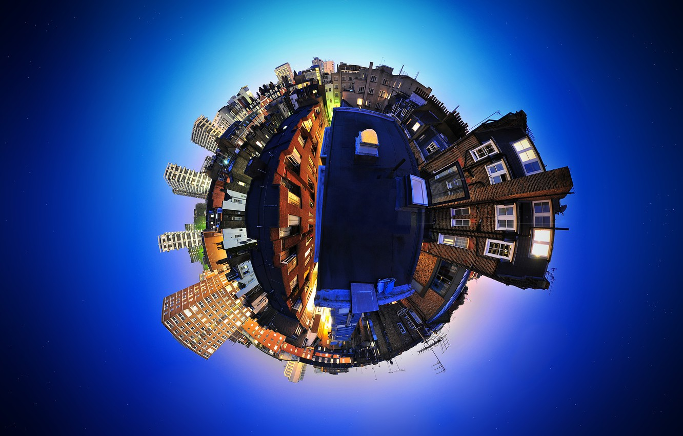 Photo wallpaper the sky, blue, the city, England, distortion, panorama