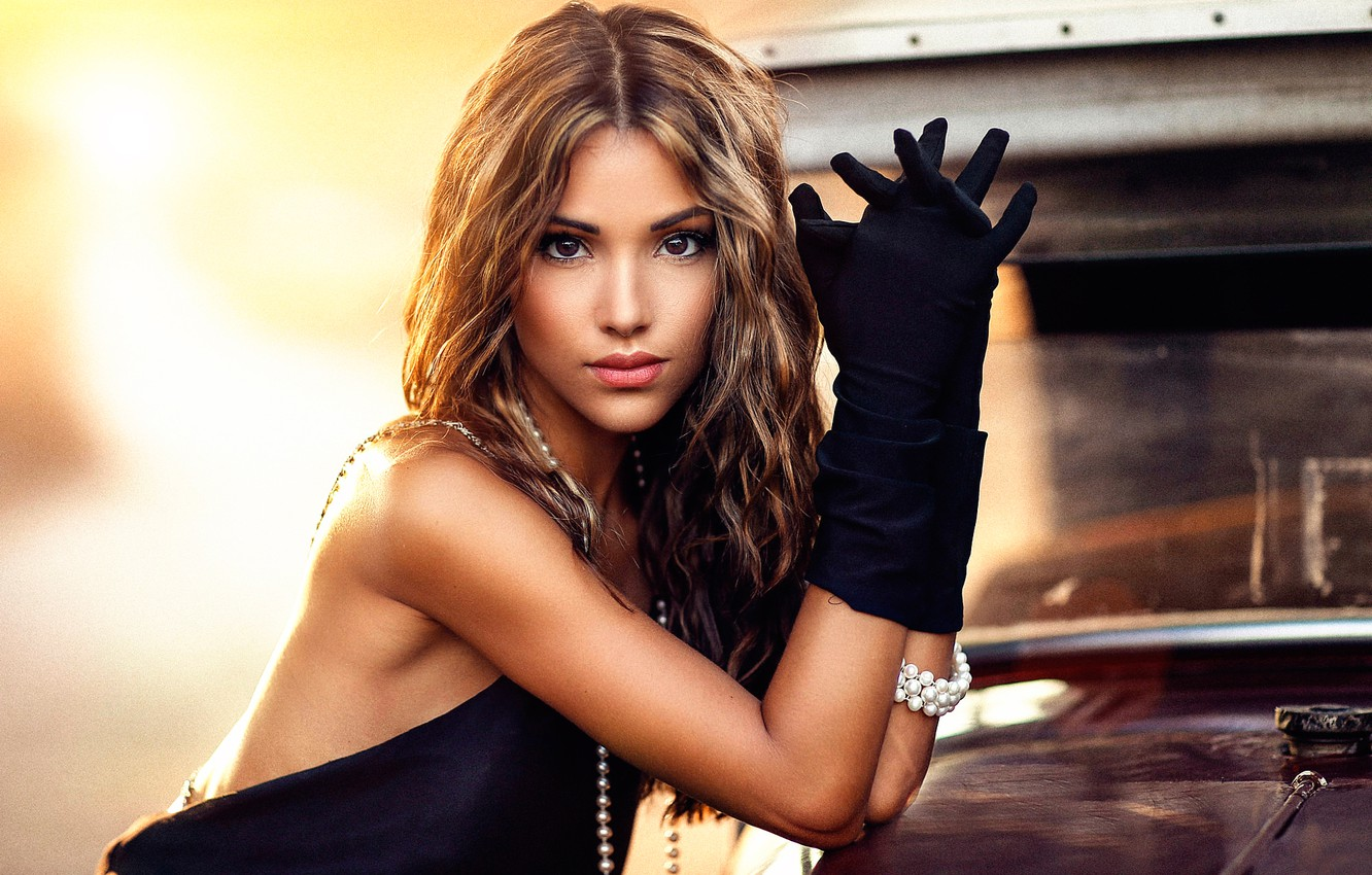 Photo wallpaper makeup, gloves, Maggie, sponge, brown-eyed, Alessandro Di Cicco