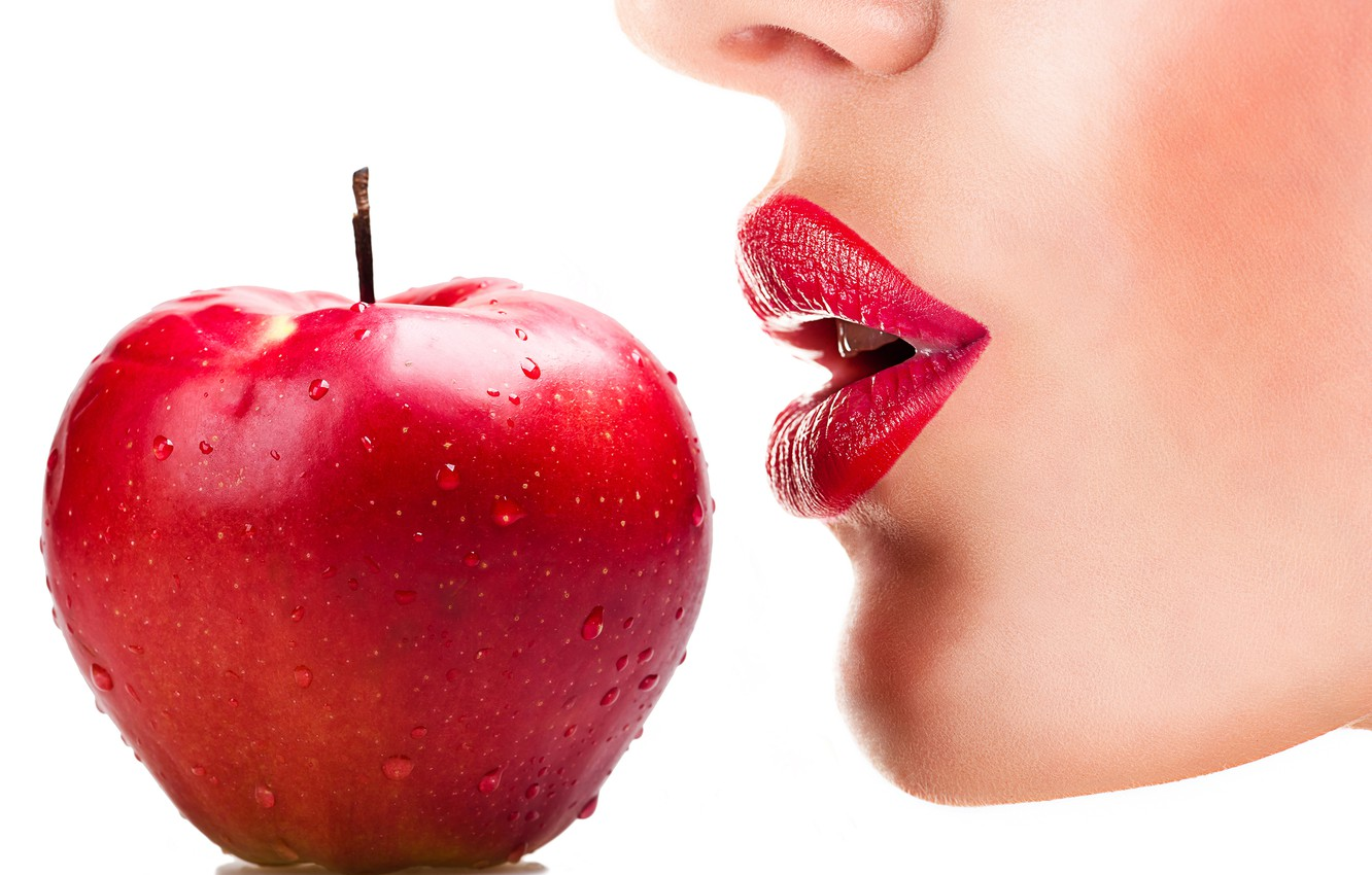 Wallpaper apple, red, woman, lips images for desktop, section еда - download