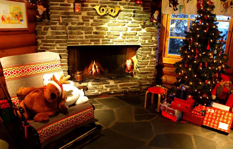 Photo wallpaper lights, holiday, tree, new year