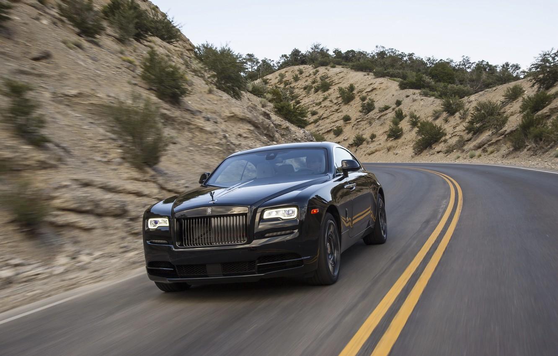 Photo wallpaper car, auto, speed, Rolls-Royce, car, road, speed, chic, rolls-Royce, Wraith, Black Badge