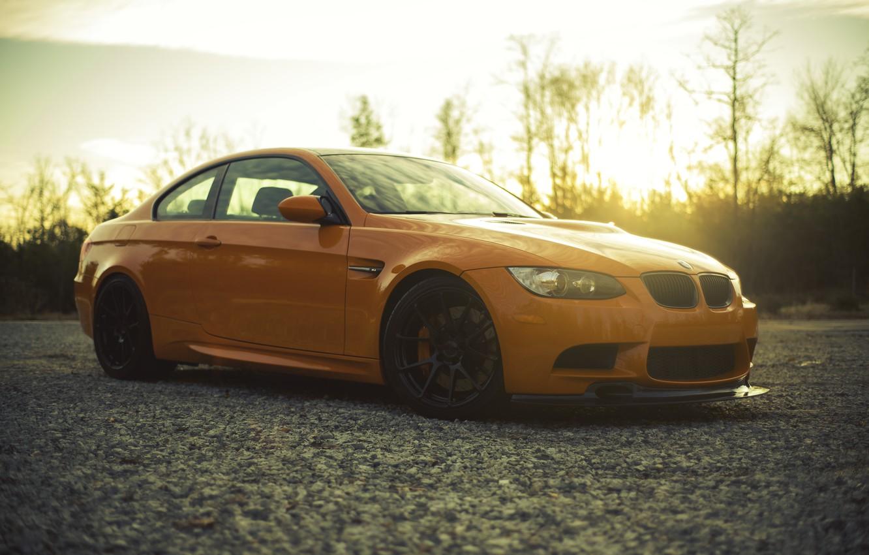 Photo wallpaper sunset, orange, BMW, BMW, side view, orange, e92