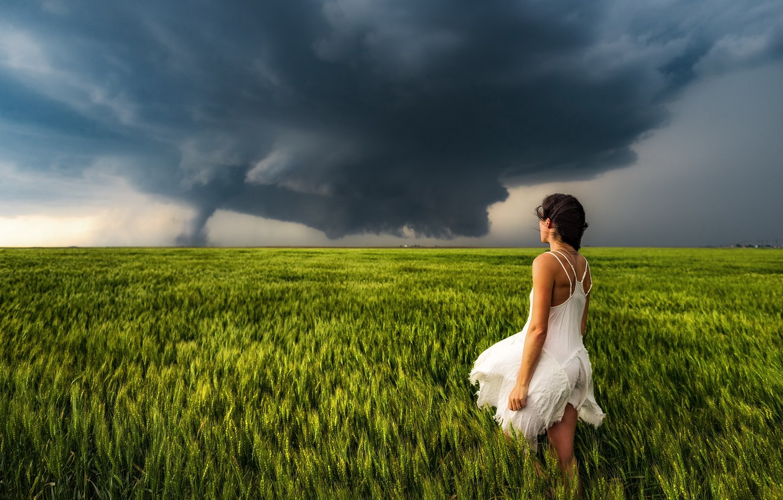 Photo wallpaper field, girl, tornado