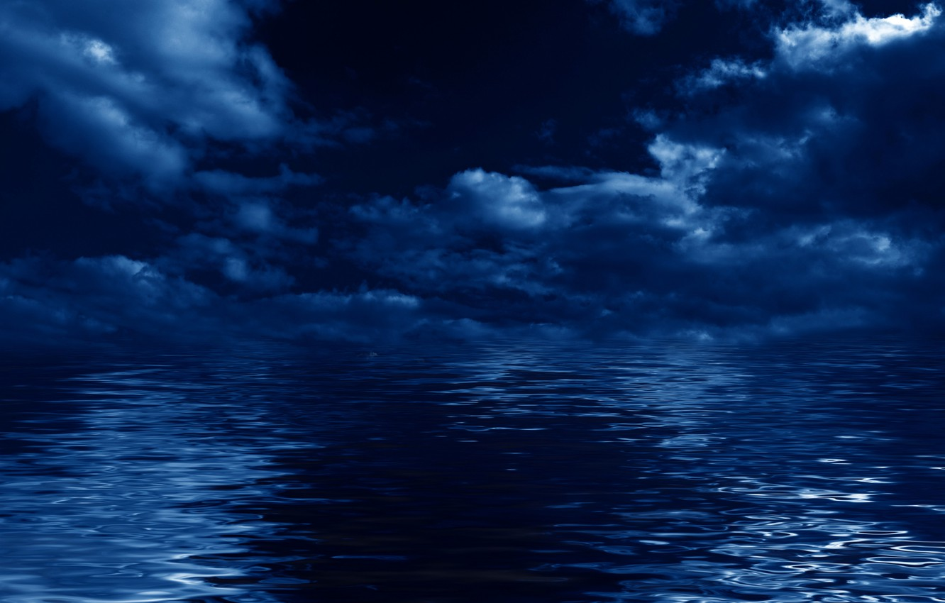 Photo wallpaper sea, the sky, clouds, landscape, night